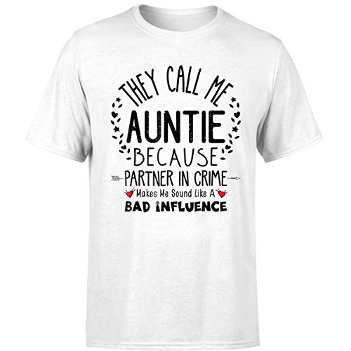 They Call Me Aunt Because Partner in Crime Auntie Gift T Shirt (Unisex T-shirt/White/4XL) -