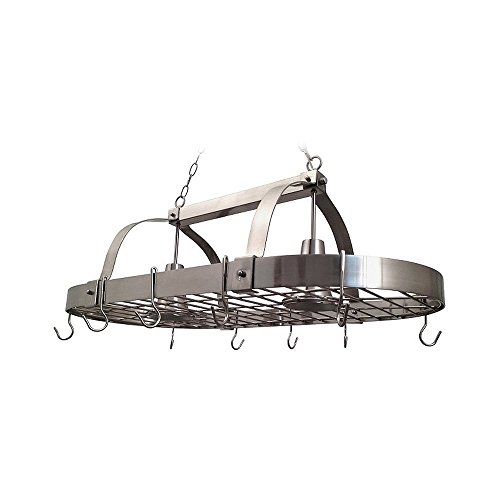 Elegant Designs PR1000-BSN Home Collection 2 Light Kitchen Pot Rack with Down Lights, Brushed Nickel