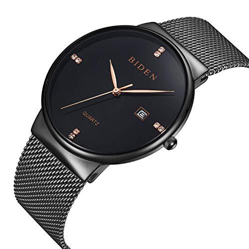 Relojes para hombre reloj de pulsera de cuarzo analógico casual para mujer Calendario ventana impermeable con malla de...