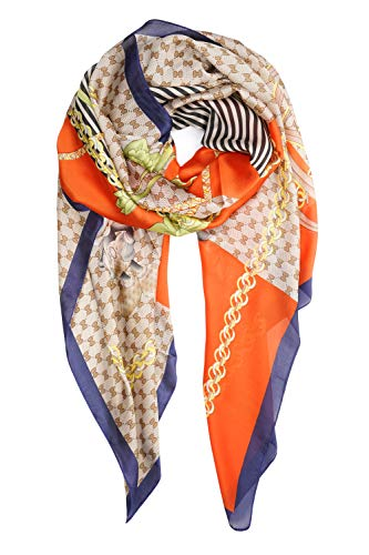 Dress Head Scarf - YOUR SMILE Ladies/Women's Lightweight Floral Print/Solid Color mixture Shawl Scarf For Spring Summer season (Orange Chain)