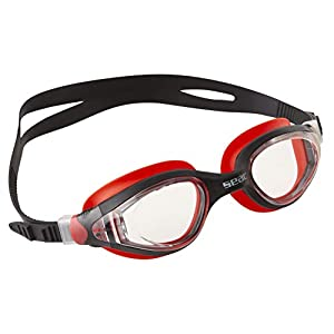 SEAC Ritmo, Swimming Goggles for Men and Women for use in The Pool and Open Water, Black/red