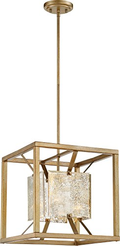 Nuvo 60/6271 One Light Pendant, Medium, Gold, Champ, Gld Leaf