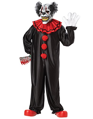 Clown Adult Male Costumes (California Costumes Last Laugh The Clown Set, Black/Red, One Size)