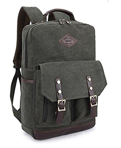 Mens Vintage Canvas Backpack Rucksack School Satchel Travel Laptop Bag Camping Verde Oscuro