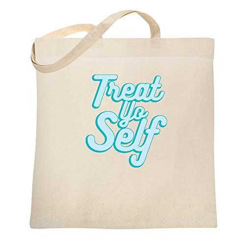 Treat Yo Self Natural 15x15 inches Canvas Tote Bag (Tote Treat Self Yo)