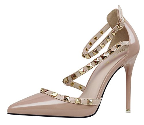 Hauts Heels Fête Rivet Escarpins Filles Pumps Pointed Abricot Chaussures Rotation Toe Minetom Femme High Stiletto Boucle Été Casual Talons wRtCCpq
