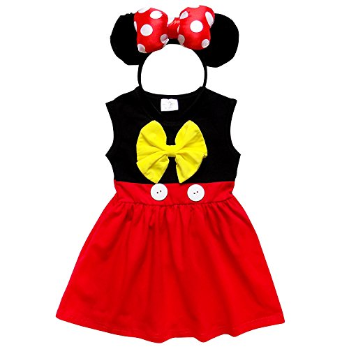 Minnie Mouse Red Dress (So Sydney Toddler Girl Soft & Comfy Minnie Dress & Ears Headband Costume Outfit (XL (6), Mouse Black & Red))