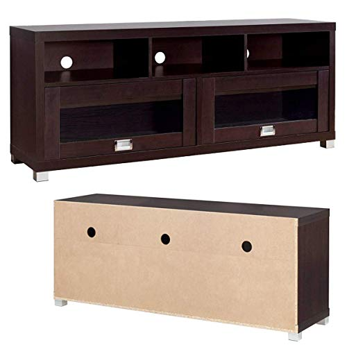 Cirocco TV Stand Cabinet Entertainment Media Center Console Espresso | 3 Shelves 2 Doors Contemporary Heavy Duty Support Upto 75 Inch Screen & 90 Lbs Scratch Resistant | Audio Game Accessory Home