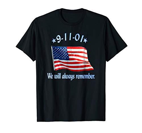 9-11 Memorial T-shirt with American Flag (Memorial 9 11)