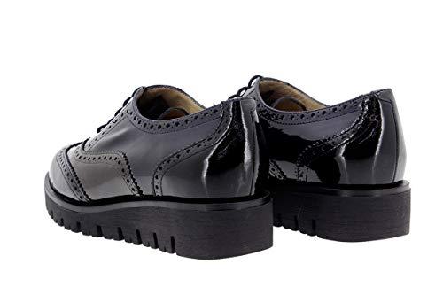 Zapato Mujer Piel de cómodo 9707 Ancho cordón Negro Piesanto Calzado Confort w7qY4ZHff