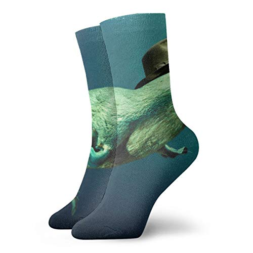WEEDKEYCAT 3D Platypus Underwater Adult Short Socks Cotton Cool Socks for Mens Womens Yoga Hiking Cycling Running Soccer Sports