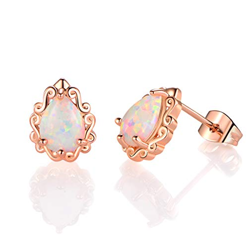 (VOLUKA 18K Rose Gold Plated Teardrop Pear Created Opal Stud Earrings for Women and Girls)