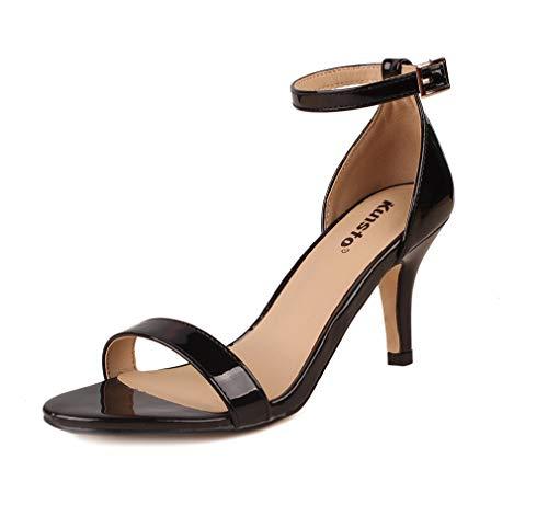 Kunsto Women's Classic Heel Dresses Sandals Black Patent US Size 10