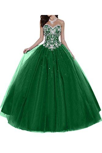 Elegant Satin Ballkleid Linie A Tuell Ballon Abendkleider Gorgeous Grün Lang Bride Herzform Festkleid wCfUfq