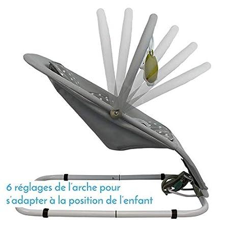 Monsieur B/éb/é /® Transat pliable 2 coloris Norme NF EN12790 Barre /à jouets et dossier inclinable