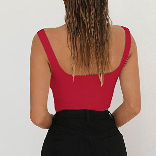 Shirt Camisole Col Sexyville Sexy Vest Mode sans Femme V Gilet Dbardeur Manche Rouge Tops T Solide Cami t w8q8n7UIr