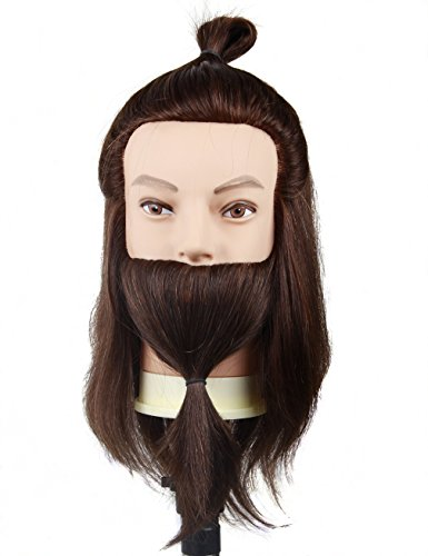 Cosmetology Male Mannequin Head with Beard for Barber Shops Styling Cutting Practicing (E51)