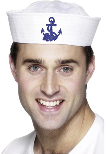 Sailor Hats For Sale (Smiffy's Men's Us Sailor Doughboy Hat with Anchor 34536, White/Blue, One size)
