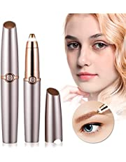 Eyebrow Trimmer Epilator Electric Razor for Women, Eyebrow Painless Hair Removal with LED Light for Good Finishing and Well Touch-Rose Gold (Battery Not Included)