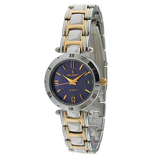 Peugeot Women's Two-tone Blue Dial Calendar Bracelet Watch (Calendar Bracelet Two Tone)