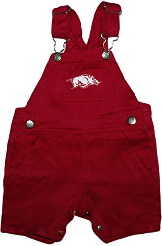 Creative Knitwear University Of Arkansas Razorbacks Short Leg Overalls,Cardinal,12 Months