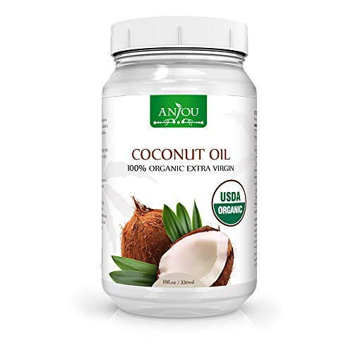 Anjou Coconut Oil, Organic Extra Virgin, Cold Pressed Unrefined for Hair, Skin, Cooking, Health, Beauty, USDA Certified, 11 oz