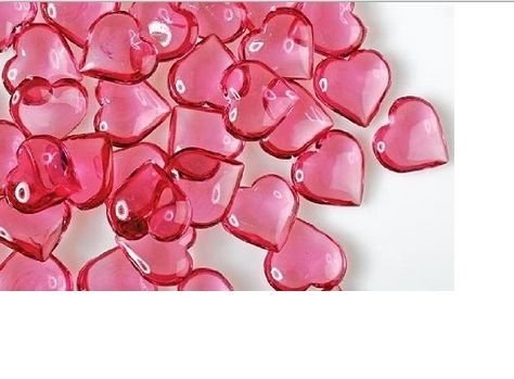 Translucent Pink Acrylic Hearts for Vase Fillers, Table Scatter, or (Valentine Gems)