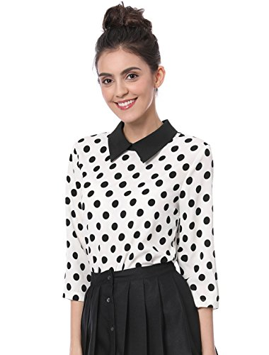 Allegra K Women 3/4 Sleeves Contrast Peter Pan Collar Polka Dots Blouse White M (Black And White Polka Dot Long Sleeve Shirt)