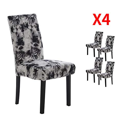 YIMEIS Comfort Stretch Dining Chair Slipcovers, Graffiti Printed Dining Chair Protector, Removable Washable Short Dining Room Chair Seat Covers for Dining Room, Kitchen, Office (Pack of 4, T_Black)