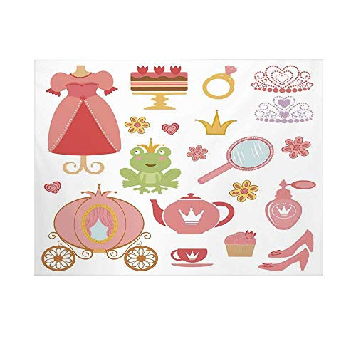 (Kids Decor Photography Background,Princess Tiara Tea Party Mirror Teapot Tea Party Frog Crown Fairy Cupcake Girls Decorative Backdrop for Studio,7x5ft)