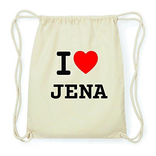 JOllify JENA Hipster Turnbeutel Tasche Rucksack aus Baumwolle - Farbe: natur Design: I love- Ich liebe