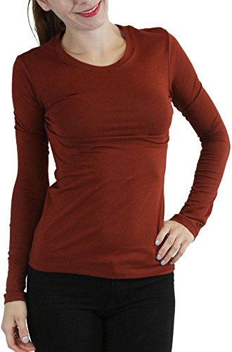 tobeinstyle-womens-cotton-blend-crew-neck-staple-top-with-long-sleeves-darkrust-s