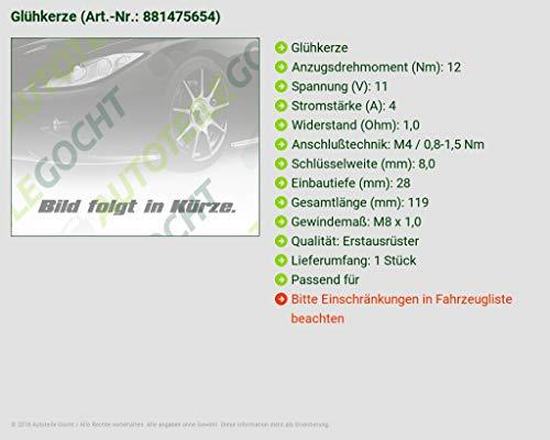 4 x Glühkerze Volvo C30 S40 II V50 1,6D
