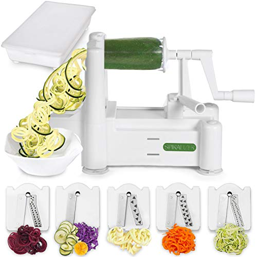 Spiralizer 5-Blade Vegetable Slicer, Strongest-and-Heaviest Duty Spiral Slicer, Best Veggie Pasta Spaghetti Maker for Keto/Paleo/Gluten-Free, Comes with Container & 4 Recipe Ebooks from Spiralizer