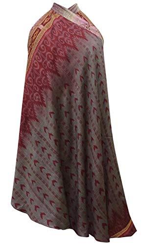 Indianbeautifulart Les Femmes Check Imprimer Pure Soie Vintage Saree rversible Rouge Wrap Summer Beach Dress Grisatres Gray & Dusty Rose