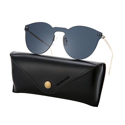 Mirrored Sunglasses for Women, Cat Eye Sunglasses, Rimless Sunglasses with Sunglasses Case 2271 (black) (Best Sellers Sunglasses)