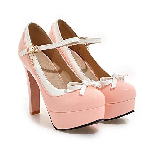 De Boca Altos Cuñas Rosa Con Tacones Zapatos korean Khskx Charol Poco Grueso Profundas Impermeable Tacón 6wXqvInx7