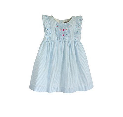 Little Girl's Angel Smocked Dress in Cotton Seersucker