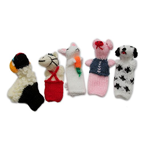 NOVICA Decorative Wool Finger Puppets, Multicolor, Playful Farm Animals'