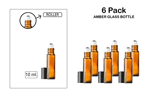 Roll-On / Glass Medicine Bottle, Amber Boston Brown Round Bottles 10ML. 6Pack - For Essential Oils, Scents, Travel, Perfume Kitchen, Bath, Cooking, Labs, Laundry, Cosmetic.- Re-Usable -By Katzco