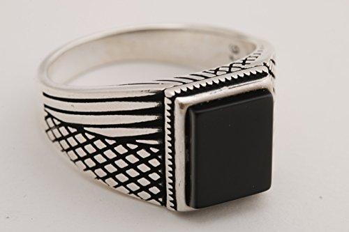 de Jewelry Rectangle Shape Black Onyx 925 Sterling Silver Men's Ring Size Option ()