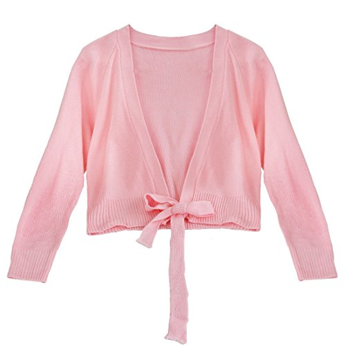 FEESHOW Girls Long Sleeve Ballet Warm-up Knit Wrap Sweater Tops Pink 5-6