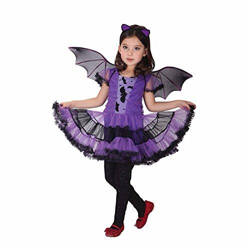 Tiaobug Mädchen Fledermaus Bat Wings Kinderkostüm komplettes Kostüm für Halloween Fasching Karneval Lila 110-116