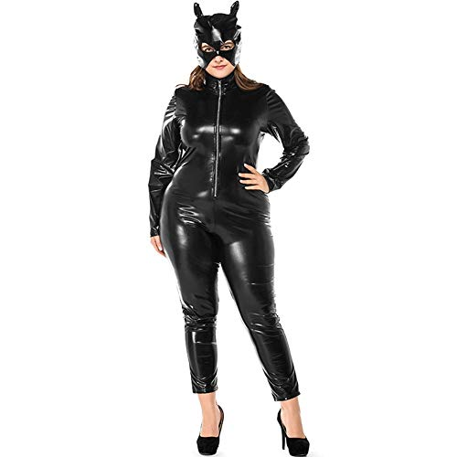 Wz Catsuit for Sexy Women Plus Size Bodysuit Goth Punk PU Faux Leather Cosplay Teddy Wetlook Zipper Front -
