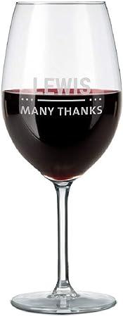 Copa de Vino Tinto Personalizada - Copa de Vino Tinto con Nombre Grabado: Personalizable con Texto, Diseños y Diferentes Tipos de Letras