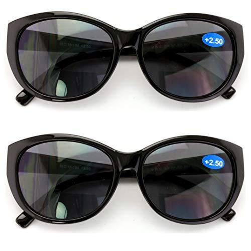 2 Pairs Women Bifocal Reading Sunglasses Reader Glasses Cateye Vintage Jackie Oval (2 Black, 1.25)