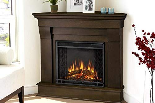 Real Flame 5950E Chateau Corner Electric Fireplace, Small, Dark Walnut