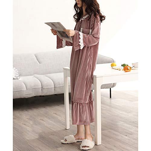 Suelta Pijamas Manga Encaje Dormir Womens A Casa Velvet Camisón Larga De Acogedor Bata Falda Dulce Suave Ropa zxWf14SqwW