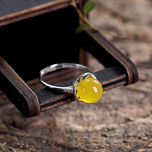 - CompraJunta Adjustable Ring of S925 Silver and Yellow Jade, Retro Style, Personal Feng Shui Deco, Attraction of Reiki Wealth, Luck, Health to give Mother, Wife and Girlfriend