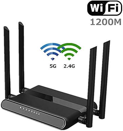 KAR 1200Mbps Router WiFi, Tarjeta USB del Router De Alta Velocidad Router AC1200 De Banda Dual Gigabit Inalámbrico A Internet para El Hogar